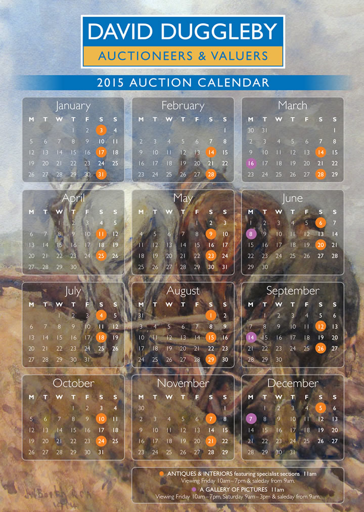 Calendar of 2012 auctions