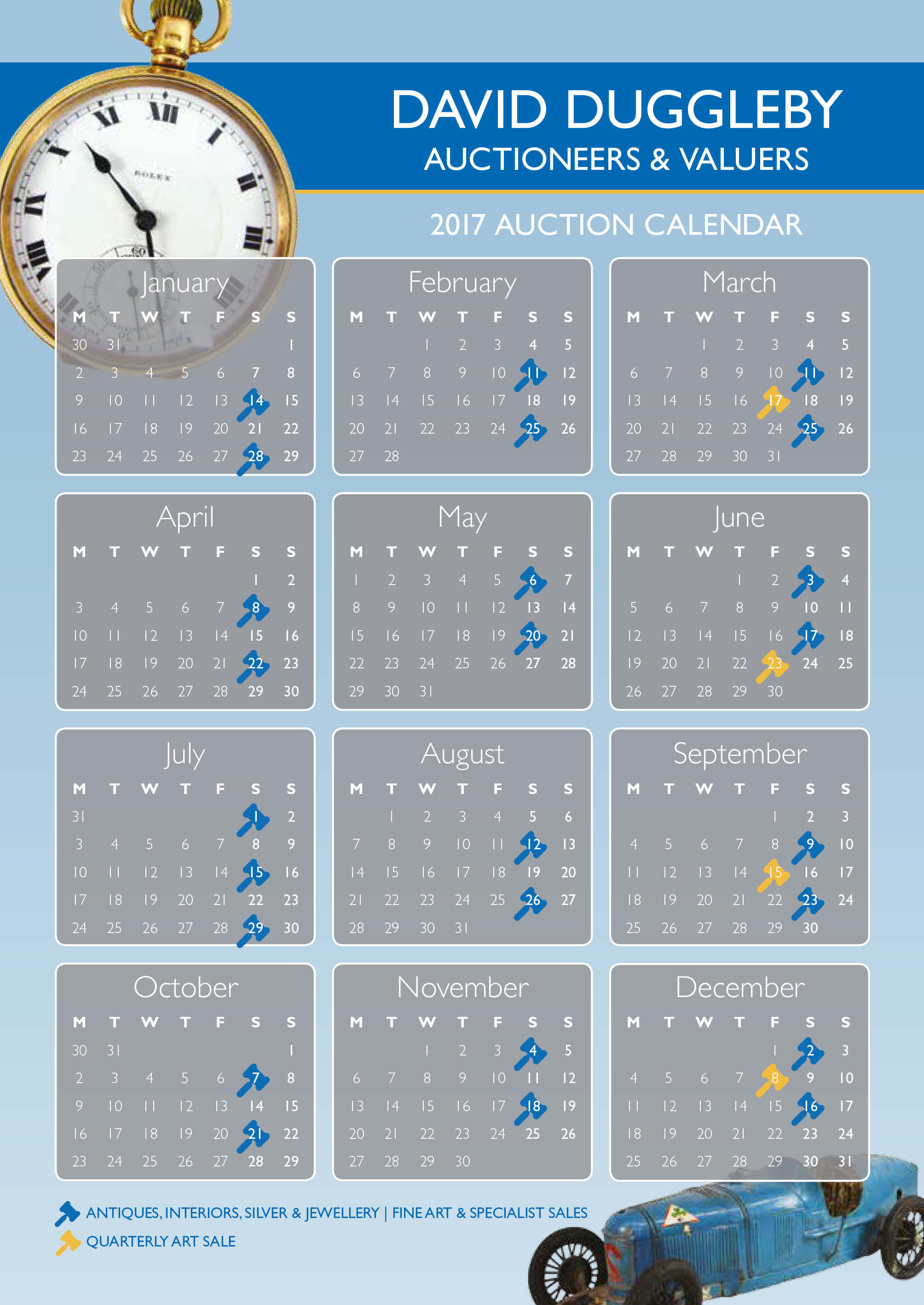 Calendar of 2017 auctions