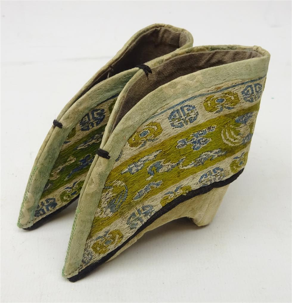 Pair 19th century Chinese silk Lotus shoes for bound feet, H7.5cm