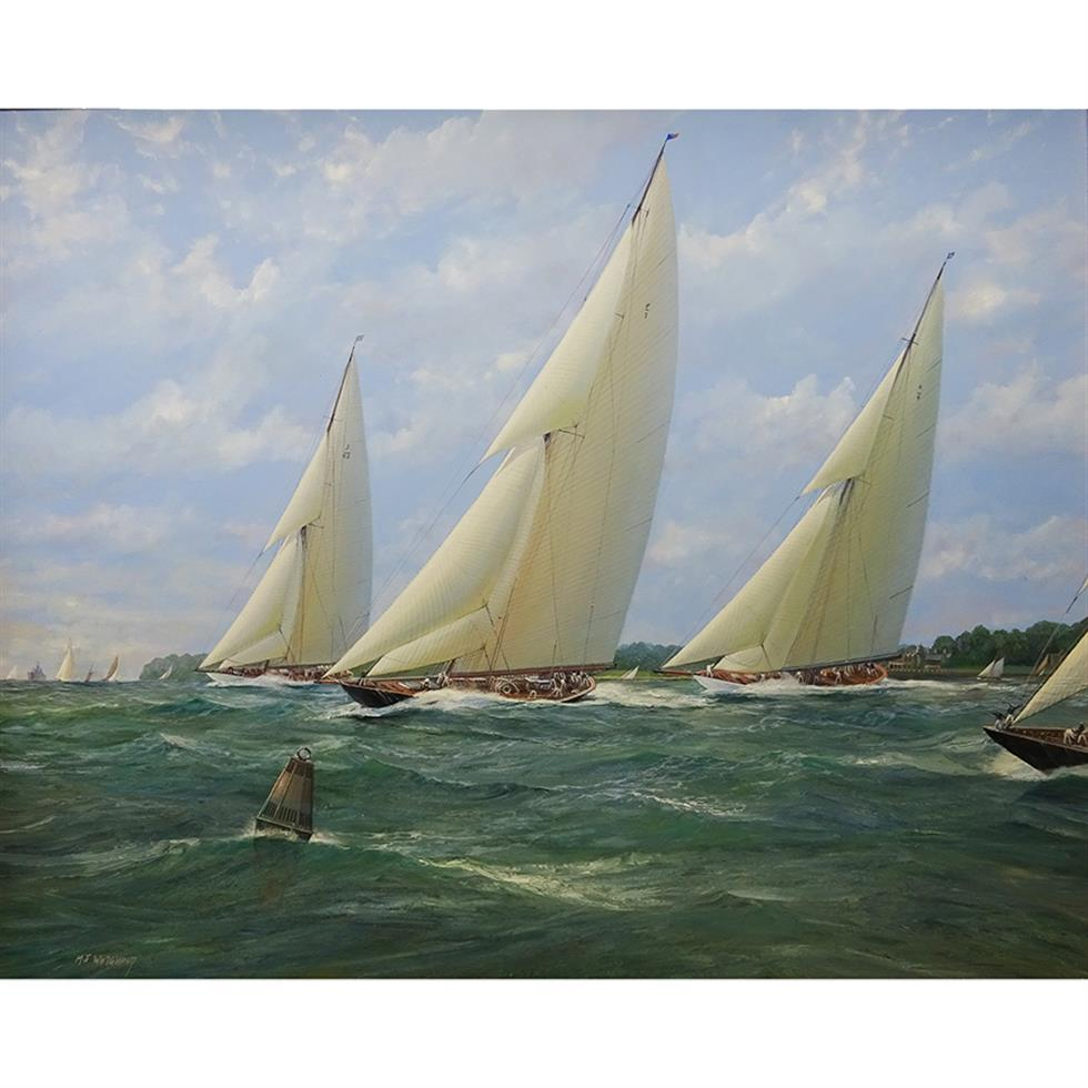 Michael J Whitehand (1941-): 'Shamrock Britannia and Cambria Racing in the Solent', oil on canvas, 99x124cm