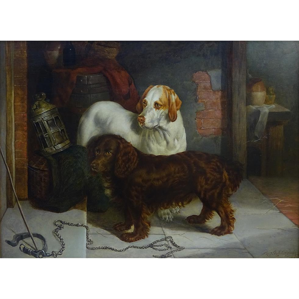 Robert Nightingale (1815-1895): Gun Dogs waiting for Master, oil on canvas, 36x49cm
