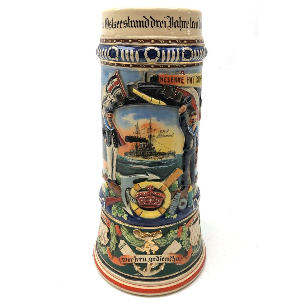 Early 20th century German reservists Beer stein marked SMS Schlesien