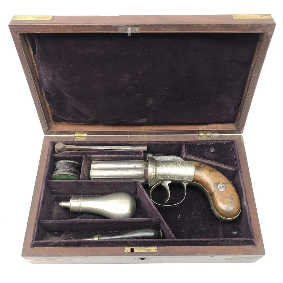 19th century six shot percussion Pepper box revolver in original brass bound mahogany fitted case