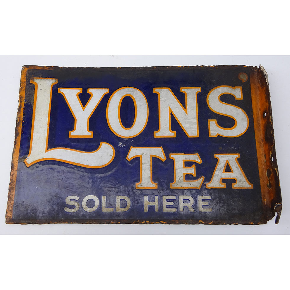 'Lyons' Tea Sold Here' double sided enamel advertising sign