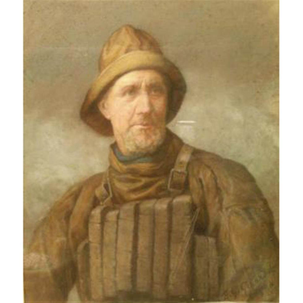 Ernest Gustave Girardot (fl.1860-1893): 'Aye Ready - John Owston Coxswain of Scarborough Lifeboat'