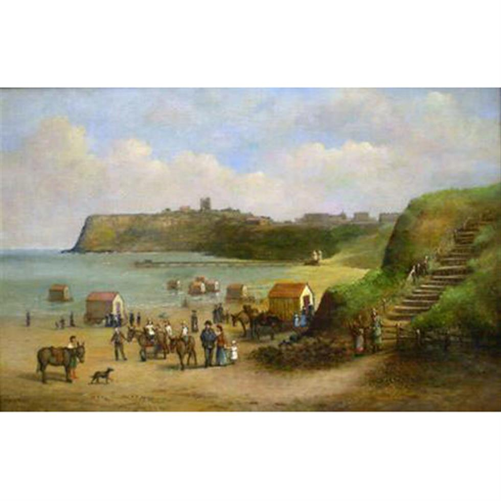 George Farrington Hornibrook (British c1843-1882): Scarborough' North Bay Pier with Figures Donkeys and Bathing Machines