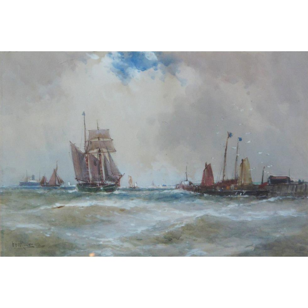 Frank Henry Mason (Staithes Group 1875-1965): Steam and Sailing Vessels off the Coast
