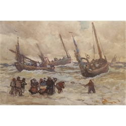 Joseph Richard Bagshawe (Staithes Group 1870-1909): 'Putting out in Rough Weather', watercolour