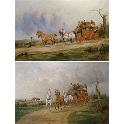 George Wright (British 1860-1942): The Royal Mail Coach, pair oils on canvas