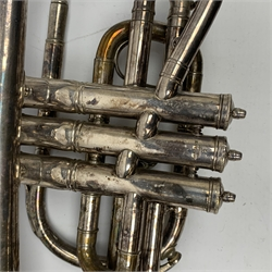 Hawkes & Son silver-plated cornet serial no.59103, with mouthpiece L38cm