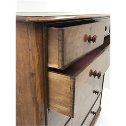 Victorian figured mahogany chest fitted with two short and four long drawers, rounded corners, W149cm, D58cm, H148cm