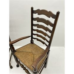 Set four (2+2) late 20th century stained ash farmhouse style dining chairs, with waved ladder backs and rush seats