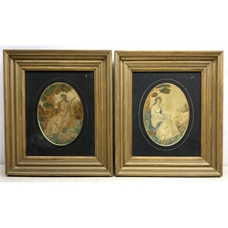 A pair of George III silk work pictures, the first depicting a female figure with staff and two sheep by her feet, the second depicting a seated female figure engaged in needlework, each within oval mount and gilt frame under glass, silkworks H21cm L15.5cm.