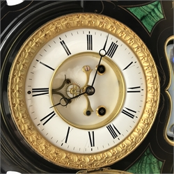 Victorian black slate perpetual calendar clock, the circular enamel Roman dial with twin train movement striking the hours and half on bell, to the left a moonphase calendar dial with independent day, date and month dials, to the right an aneroid barometer, the case with engraved and gilt decoration and set with malachite, twin tube mercury pendulum, with key, W49cm, H54cm, D16cm
