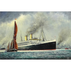 Jack Rigg (British 1927-): 'S S Otranto on the Thames', oil on board signed and dated 1988, signed and inscribed verso 45cm x 65cm Notes: the Otranto was an Orient Line steamer built in 1926, serving through WWII and later broken up in 1957 at Faslane on the Clyde