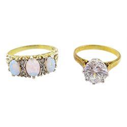 Silver-gilt opal link bracelet, stamped 925, silver-gilt opal ring and a silver-gilt cubic zirconia ring, both stamped Sil