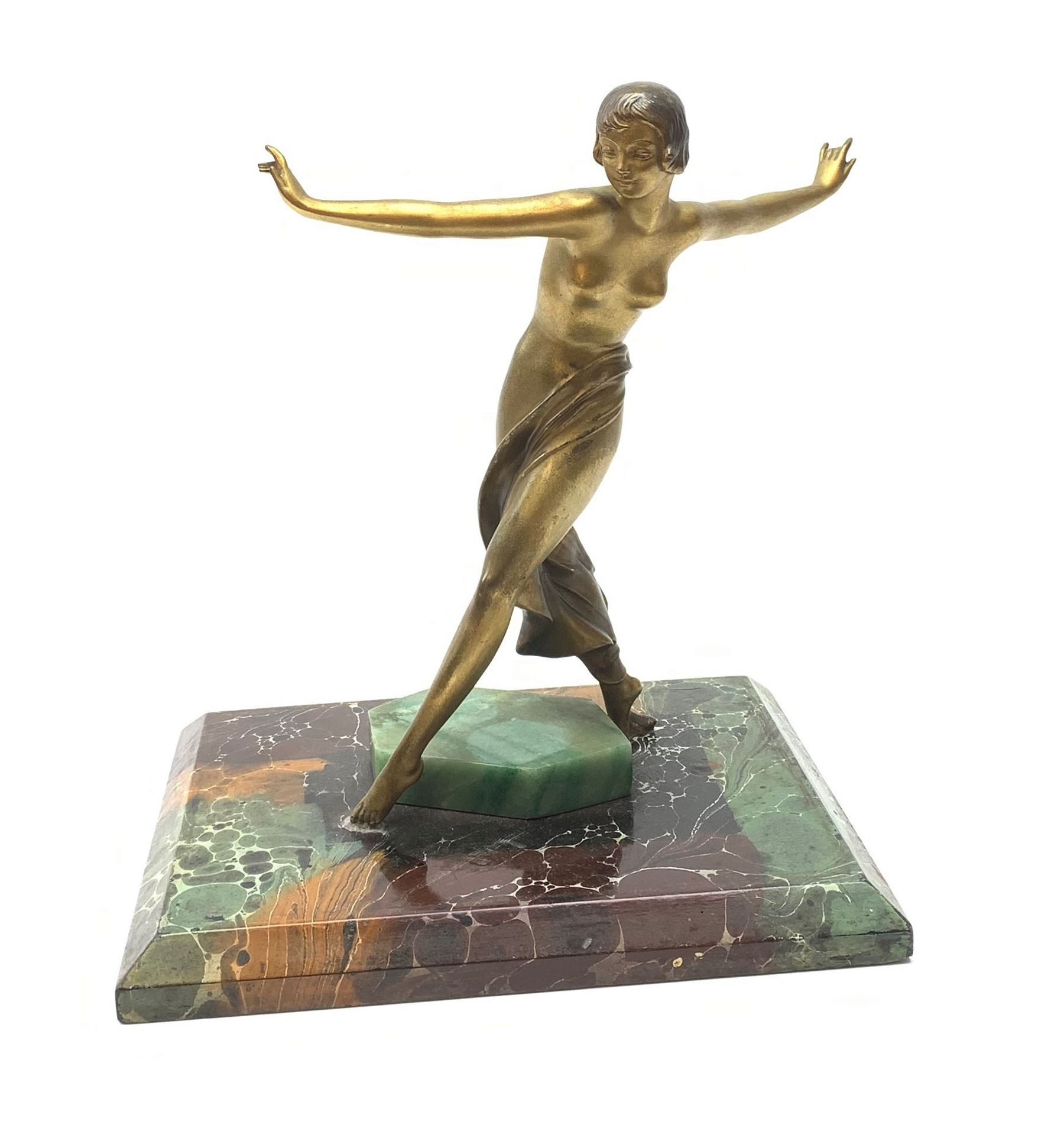 A French Art Deco Gilt and Silvered Spelter Figural Lamp