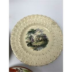 Three 18th/19th century nursery plates, comprising example decorated with central printed chinoiserie scene of pagoda, fence and two figures with bird, within a moulded swag and patera border, D18cm, a William Smith & Co example decorated in the Napoleon pattern with moulded floral border, with printed mark detailed Napoleon WS&Co and faint impressed mark WS&Co's Wedgewood beneath, D18cm, and a pearlware example decorated with chinoiserie figural scene within a moulded border, with overpainted decoration, collectors label beneath inscribed 'Early Wedgwood or Leeds 1750-60', D16cm