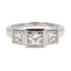 18ct white gold three stone princess cut diamond ring, hallmarked, total diamond weight approx 1.60 carat