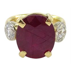 18ct gold three stone oval ruby and round brilliant cut diamond ring, hallmarked, total diamond weight approx 1.35, ruby approx 8.00 carat