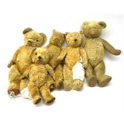 Five British teddy bears c1930s-50s including Pedigree bear H22