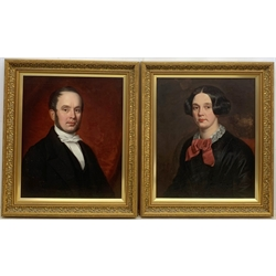 Benjamin Hudson (British 1823-1896): 'Rev. John Prior Lockwood' & his wife 'Jane Aitkin', pair portrait oils on canvas laid on board unsigned, inscribed on the original frame with the artist's address 86 Newman Street London and dated 'Mansfield Jan. 29th 1853', 58cm x 48cm (2) Provenance: John Lockwood (1813-1887) born in Skipton the grandson of John Prior, clockmaker of Nesfield near Ilkley, became a Wesleyan Minister. Jane Aitkin (1817-1891)     Benjamin Hudson spent most of his working life in Sculcoates and is buried in the General Cemetery, Hull. A number of his portraits are in the Ferens Gallery, Hull.
