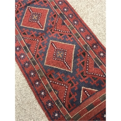 Meshwani red and blue ground runner rug, 263cm x 60cm