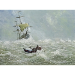 John Cooper (British 1942- ): The Bridlington Lifeboat 'William John Frances' coming to the rescue, watercolour and gouache signed 52cm x 69cm Notes: In 1885 the town received their new Lifeboat the
