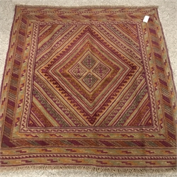 Gazak maroon ground rug, four central diamonds, 130cm x 122cm