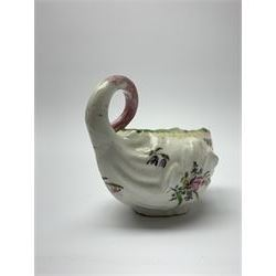 18th century Derby porcelain sauce boat, of leaf moulded form with curled handle, decorated throughout with floral sprays, L11cm