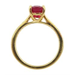 18ct gold oval ruby ring, with diamond set shoulders, hallmarked, ruby approx 2.35 carat
