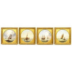 Henry Redmore (British 1820-1887): Fishing Boats and Sailing Vessels off the Coast, set of four circular oils on board each signed with initials and dated 1857 diameter 23cm Provenance: private collection purchased David Duggleby Ltd. Whitby 23rd April 2007 Lot 30