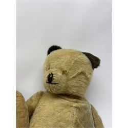 Three large early wood wool filled teddy bears for restoration, one with open mouth (3)