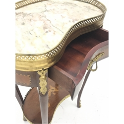 Mid to late 20th century French style kidney shaped side table, marble top with gilt metal gallery, single drawer, cabriole supports connected by undertier with inlay, gilt metal mounts and fittings, W44cm, H72cm