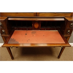 19th century mahogany secretaire bookcase, projecting cornice with figured and satinwood inlaid frieze above two astragal glazed doors, the tambour roll top base with inset leather interior and with drawers, square tapering supports with pierced corner brackets and spade feet, W130cm, H217cm, D48cm