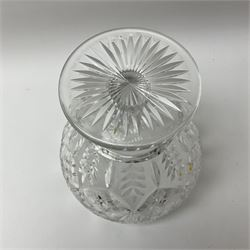 A cut glass centre piece bowl, of tapering form upon short thick stem and circular foot with star cut base, H23cm D20cm.