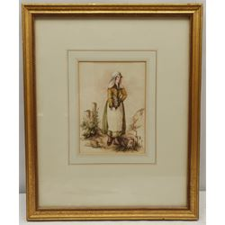 English School (Early 20th century): Young Maid, watercolour unsigned 18cm x 13cm
