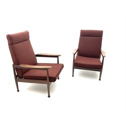 Guy Rogers - pair 1960s 'Manhattan' teak framed open armchairs, upholstered seat and back, turned supports