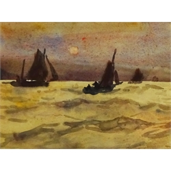 Joseph Richard Bagshawe (Staithes Group 1870-1909): Fishing Boats setting Sail at Sunrise, watercolour, authenticated by his granddaughter verso 15cm x 21cm