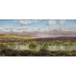 John Brett (British 1831-1902): 'Fylingdales Moor' looking towards Whitby, oil on canvas signed and dated 1890, 38cm x 76cm Provenance: East Yorkshire private collection; exh. Royal Academy 1891 No.458; purchased by W.A. Pye Esq. in February 1891 for the sum of £100, then by descent through the Pye family; Sotheby's London 12th November 1992, Lot 132; Thomas Agnew & Sons Ltd. London (then listed as Treyarnon Bay) No.WA2457 (label verso) where purchased by J.E. Dayton; Sotheby's London 10th March 2005, Lot 217, where purchased by the vendor (at the same sale an oil sketch of the same scene was sold as Lot 218). Literature: Birmingham Daily Post 30th May 1891; C. Payne & C. Brett: John Brett: Pre-Raphaelite Landscape Painter (Yale Univ. Press 2010) Cat no.1350, ill p 236 Notes: The painting has previously been erroneously listed as Treyarnon Bay; this is because the frame, made for the artist by Dolman & Son, previously contained 'Treyarnon Bay' of 1889, and a label previously affixed to the frame displayed this title.