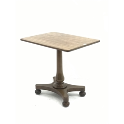 Victorian mahogany side table, rounded rectangular top on column, shaped platform with four turned feet with recessed castors, 74cm x 55cm, H69cm