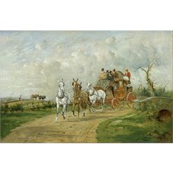 George Wright (British 1860-1942): 'The Royal Mail Crossing a Bridge', oil on canvas signed 49cm x 74cm  Provenance: purchased by the vendor Sotheby's London 12th November 1992, Lot 224; with Kurt E Schon Ltd, New Orleans and Vienna, label verso