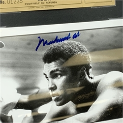 Autographs - Muhammad Ali signed monochrome photograph with  between two fight admission Tickets and miniature facsimilie programmes and posters for 48 of his fights, framed, 66cm x 84cm