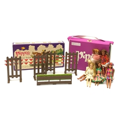 Pippa - six fashion dolls (Pippa, Gail, Marie, Tammie and two Dancing Marie), carry case containing twenty-three outfits and boxed Gymkhana set