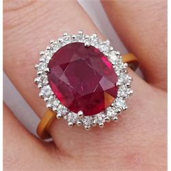 18ct gold ruby and diamond cluster ring, hallmarked, ruby 3.85 carat