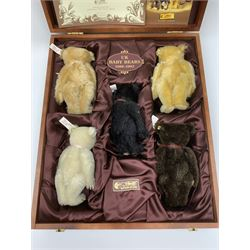 Steiff limited edition British Collector's Baby Bear Set 1989-1993, No.439/1847, comprising five small teddy bears in fitted wooden box with certificate and Club brochure