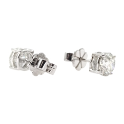 Pair of 18ct white gold round brilliant cut diamond stud earrings, total diamond weight 1.74 carat