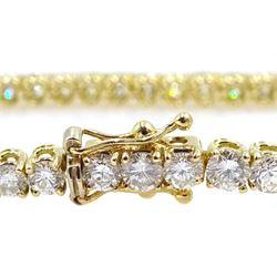 18ct gold round brilliant cut diamond line bracelet, hallmarked, diamond total weight approx 6.35 carat