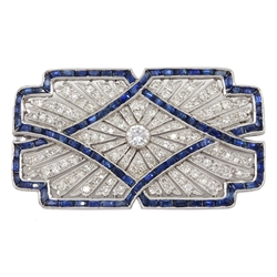 White gold calibre cut sapphire and diamond brooch, milgrain set in open work design, stamped 18K