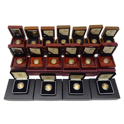 Seventeen Gold proof full sovereigns - a complete run from 2004 to 2020, all boxed or cased with certificates, a rare opportunity to acquire a complete run of gold proof sovereigns including 2012 and 2017 with special reverse designs